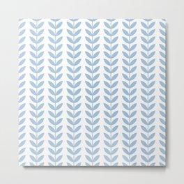 Pale Blue Scandinavian leaves pattern Metal Print