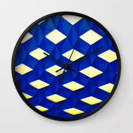 Trapez 2/5 Blue & Yellow by Brian Vegas Wall Clock