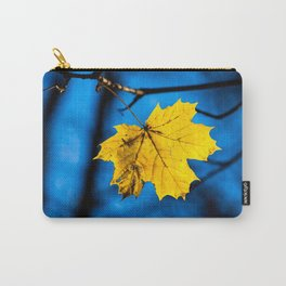 Yellow Mapple Leaf On Blue Carry-All Pouch
