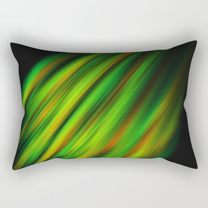 Colorful neon green brush strokes on dark gray Rectangular Pillow
