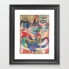 psychedelic chicken farmer Framed Art Print
