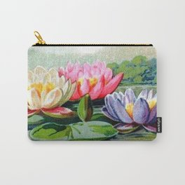 Vintage Lily Pad Floral Pond Lilies Carry-All Pouch
