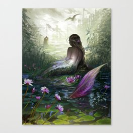 Little mermaid - Lonley siren watching kissing couple Canvas Print