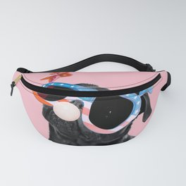 Bubble gum pug with sunglasses in pink Fanny Pack