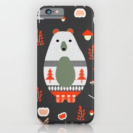 Christmas bears and birds iPhone Case
