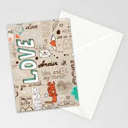 Seamless love letter pattern Stationery Cards