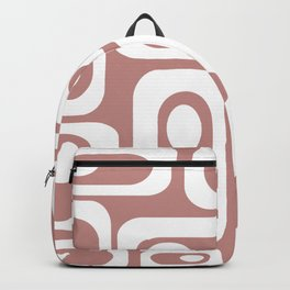 Atomic Age Pod Pattern in White and 50s Pink. Minimalist Monochrome Backpack