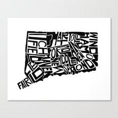 Typographic Connecticut Canvas Print