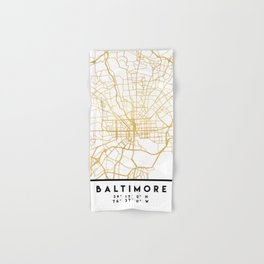 BALTIMORE MARYLAND CITY STREET MAP ART Hand & Bath Towel