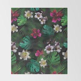 Tropical Night Garden Throw Blanket