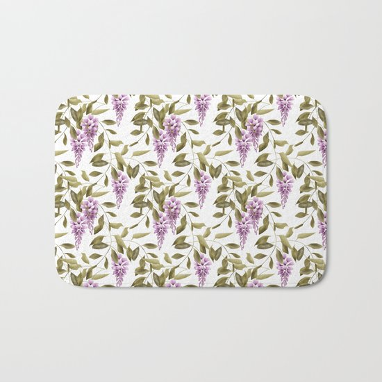 The Branches Of Wisteria .  White background . Bath Mat