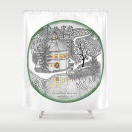 Round Barn Inn, Waitsfield, Vermont near Sugarbush- Zentangle illustration Shower Curtain