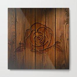 Rose on Wood Metal Print