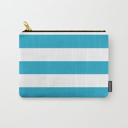 Pacific blue - solid color - white stripes pattern Carry-All Pouch