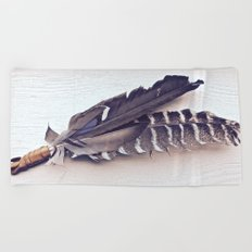 Sacred Smudging, Feather Fan Beach Towel