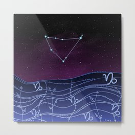 Capricorn Zodiac Constellation Design Metal Print