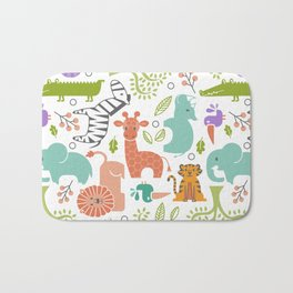 Zoo Pattern in Soft Colors Bath Mat