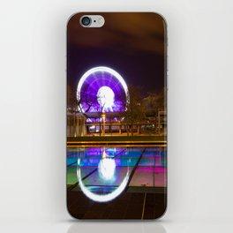 Budapest Eye Ferrish Wheel, Colorful Night Photography, Urban Cityscape Print iPhone Skin