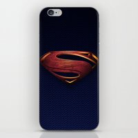 man of steel iPhone & iPod Skins featuring Man of Steel by Fortale