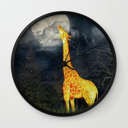 What the moon tastes like? (Giraffe and Moon) Wall Clock