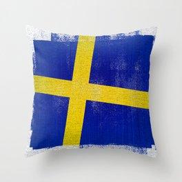 Swedish Distressed Halftone Denim Flag Throw Pillow