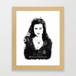 Katie McGrath - Morgana Pendragon Black and White Framed Art Print