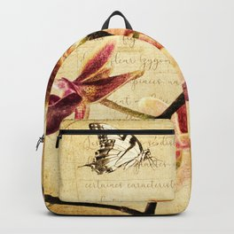 Orchid Flower Butterfly Modern French Country Cottage Art A183 Backpack