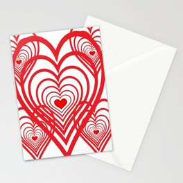 0PTICAL ART RED VALENTINES HEARTS IN HEARTS DESIGN Stationery Cards
