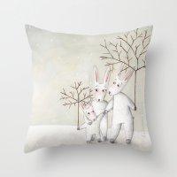 bunnies Throw Pillows featuring Bunnies by Arianna Usai