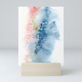 Sherbert, peach blue Abstract Mini Art Print