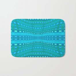 Wavy Aqua Green Intricate Stripes Bath Mat