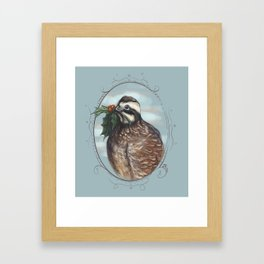 Bob White Quail with Holly Framed Art Print
