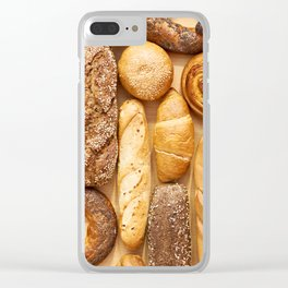 Bread baking rolls and croissants background Clear iPhone Case