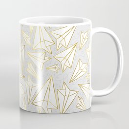 Paper Airplanes Faux Gold on Grey Coffee Mug