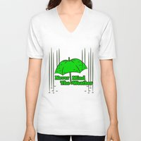 umbrella V-neck T-shirts featuring Umbrella by mailboxdisco