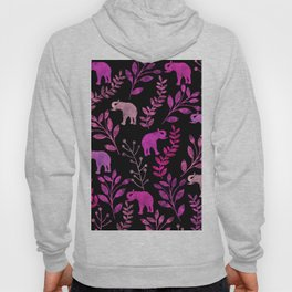 Watercolor Flowers & Elephants III Hoody