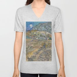 Enclosed Field with Peasant by Vincent van Gogh, 1889 Unisex V-Neck