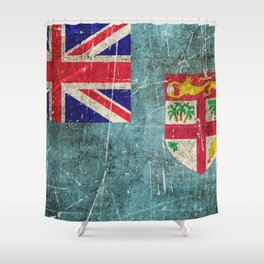 Vintage Aged and Scratched Fiji Flag Shower Curtain
