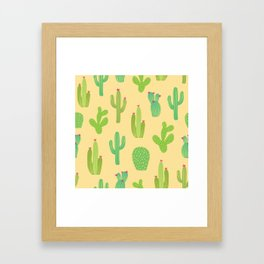 Colorful cactus desert illustration pattern. Green cactuses on yellow. Framed Art Print