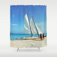 cuba Shower Curtains featuring Cuba Beach by Parrish