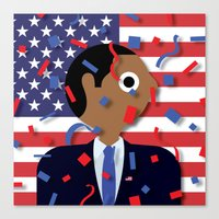 obama Canvas Prints featuring Obama by Stephen Cheetham