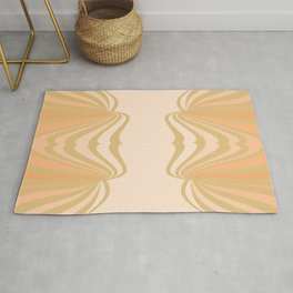 Cream and Olive Green Pattern Rug
