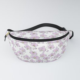 Seamless watercolor orchids phalaenopsis flowers white pink retro pattern floral Fanny Pack