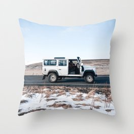 Day out shoting in Iceland Throw Pillow