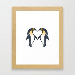 Kissing penguins Framed Art Print