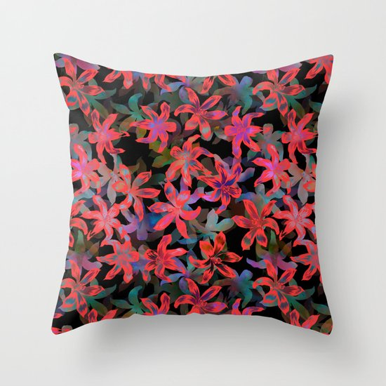 Tropical Serenade - Black Throw Pillow