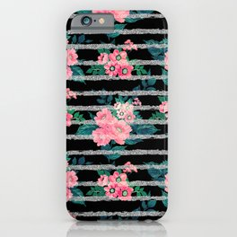 Girly Pink Floral & Silver Glitter Stripes Black Design iPhone Case