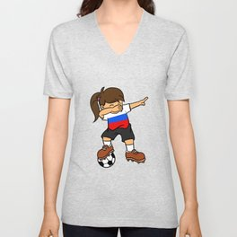 Russia Soccer Ball Dabbing Girl Russian Football Unisex V-Neck