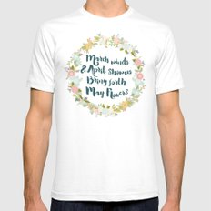 May Flowers brush script Mens Fitted Tee White SMALL