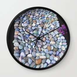 Serpentine Flow of Colorful River Rocks Wall Clock